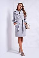 Серое кашемировое пальто женское