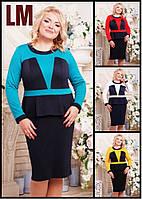 52,54,56,58 р Платье Алека черное женское батал большого размера повседневное на работу с баской синее