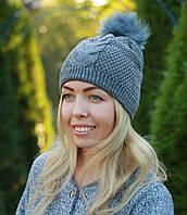 Женская вязаная шапка с помпоном модная серая