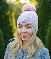 Женская вязаная шапка с помпоном модная розовая
