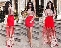 """Элегантное вечернее женское платье со съёмной юбкой 139 """"Трикотаж Мини Вышивка Сетка Макси"""" в расцветках"""
