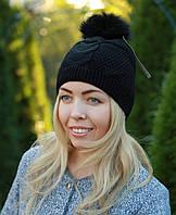 Женская вязаная шапка с помпоном модная черная