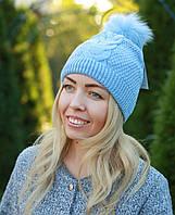 Женская вязаная шапка с помпоном модная голубая