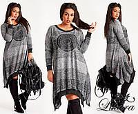 """Женское стильное платье в больших размерах 608 """"Меланж Полосы Углы Резинка"""""""