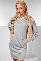 """Женское стильное платье-туника 003 """"Трикотаж Капюшон Кармашки"""""""