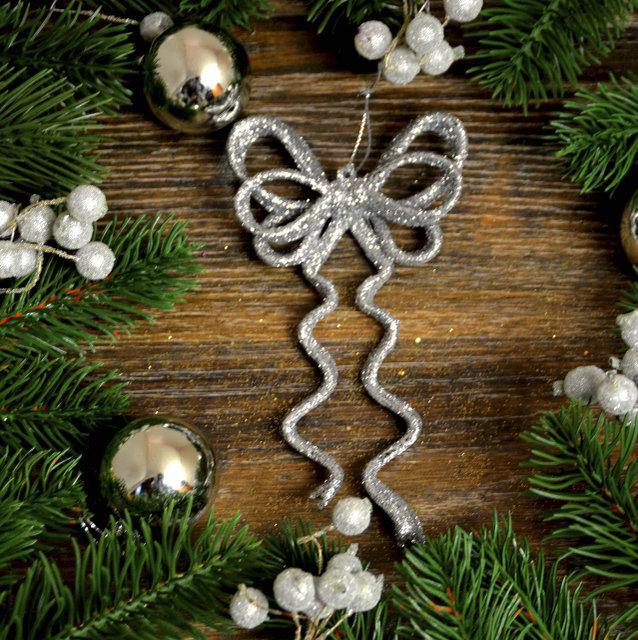 """Новогоднее украшение """"Бант двойной"""" серебро"""