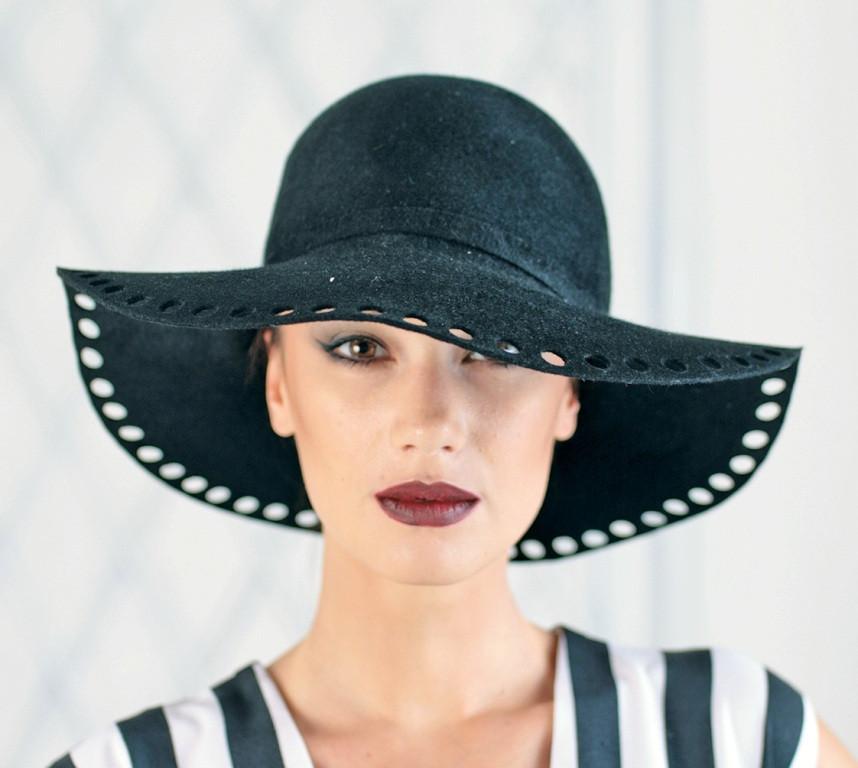 Жіноча чорний фетровий капелюх з полями 10 см