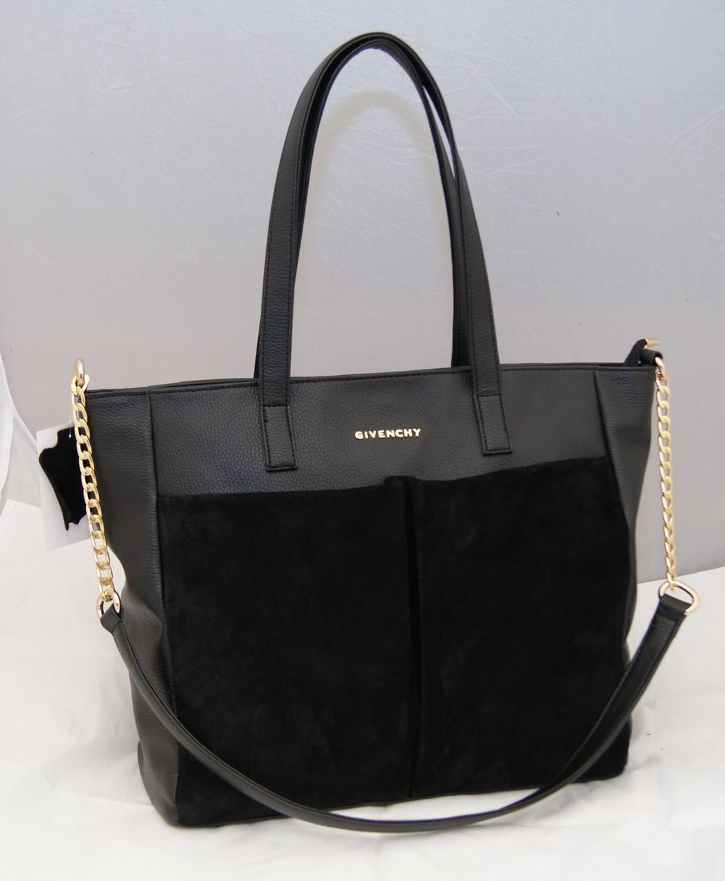 Женская замшевая сумка Givenchy, цвет черный Живанши