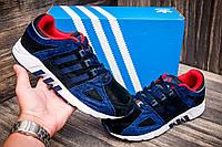 Кроссовки черные с темно-синим, Adidas Equipment , замша, мужские