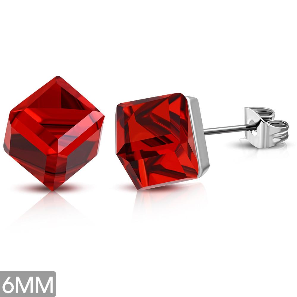Сережки гвоздики з червоним фианитом 316