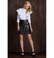 Женская стильная юбка трапеция из эко-кожи 6076