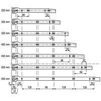 Направляющая роликовая мебельная белая GAMET L-550 mm PR-1100-550
