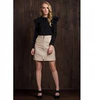 Женская стильная юбка трапеция из эко-кожи бежевого цвета 6075
