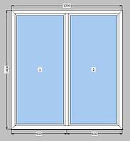 Окно 1300х1400 мм немецкий профиль+ энерго стекло