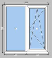Окно 1300*1400 профиль Wintech 5 кам.  фурнитура Vorne 3 стекла +энерго