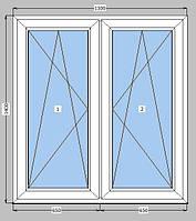 Окно двухстворчатое два поворотно-откидных 1300х1400 мм
