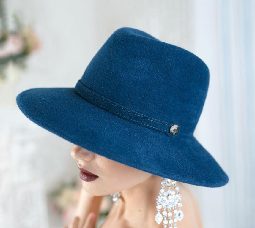 Фетровий капелюх чоловічого стилю колір синій
