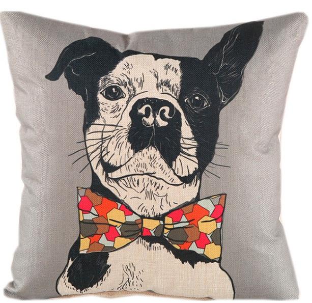 """Декоративная наволочка с принтом """"Собака в бабочке"""" TRAUM 5320-50, цвет серый. Застежка на молнии."""