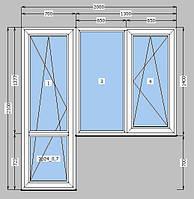 Балконный блок  окно глухое и поворотно-откидное; дверь поворотная-откидная (сендвич панель)