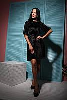 Выходное черное бархатное платье
