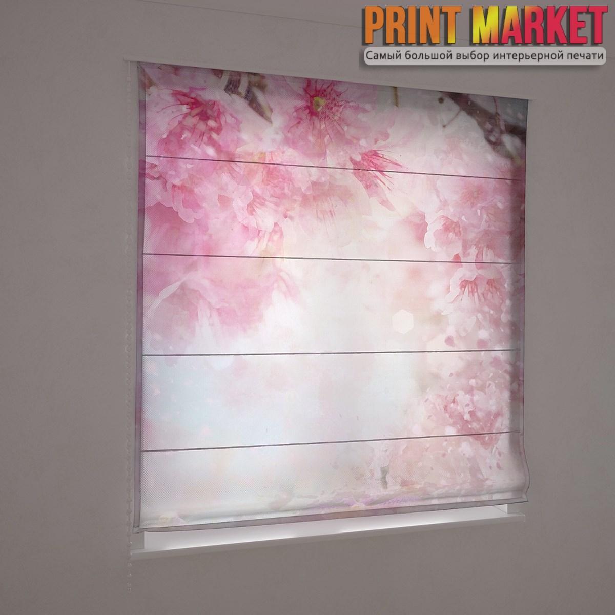 Фотошторы римские розовые цветы 3d