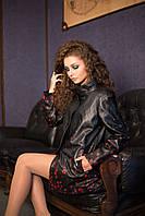 Удлиненная кожаная куртка с цветочным арнаментом, фото 1