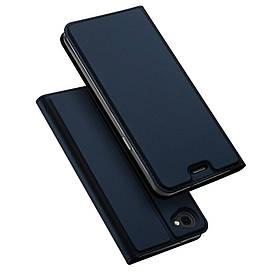 Чехол книжка для LG Q6 M700 боковой с отсеком для визиток, DUX DUCIS, темно-синий