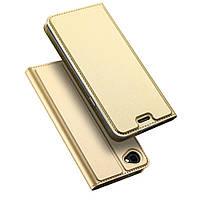 Чехол книжка для LG Q6 M700 боковой с отсеком для визиток, DUX DUCIS, золотистый