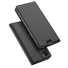 Чехол книжка для LG Q6 M700 боковой с отсеком для визиток, DUX DUCIS, серый