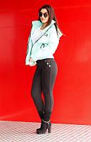 """Лосины женские на флисе черные с вставками из замша """"Фиджи"""" арт.5521"""