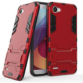 Чехол накладка для LG Q6 M700 противоударный силиконовый с пластиком, Alien, красный