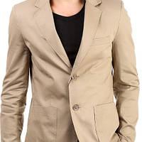 Мужской пиджак под джинсы приталенный бежевый, мокрый асфальт