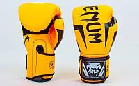 Перчатки боксерские PU на липучке VENUM оранжевый-черный
