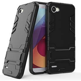 Чехол накладка для LG Q6 M700 противоударный силиконовый с пластиком, Alien, черный