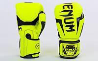 Перчатки боксерские PU на липучке VENUM лимонный