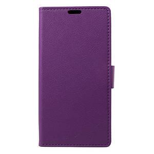 Чехол книжка для LG Q8 Н970 боковой с отсеком для визиток, фиолетовый