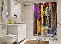 """Фото Шторка для ванной """"Арка в цветах"""""""