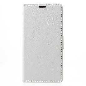 Чехол книжка для LG Q8 Н970 боковой с отсеком для визиток, белый