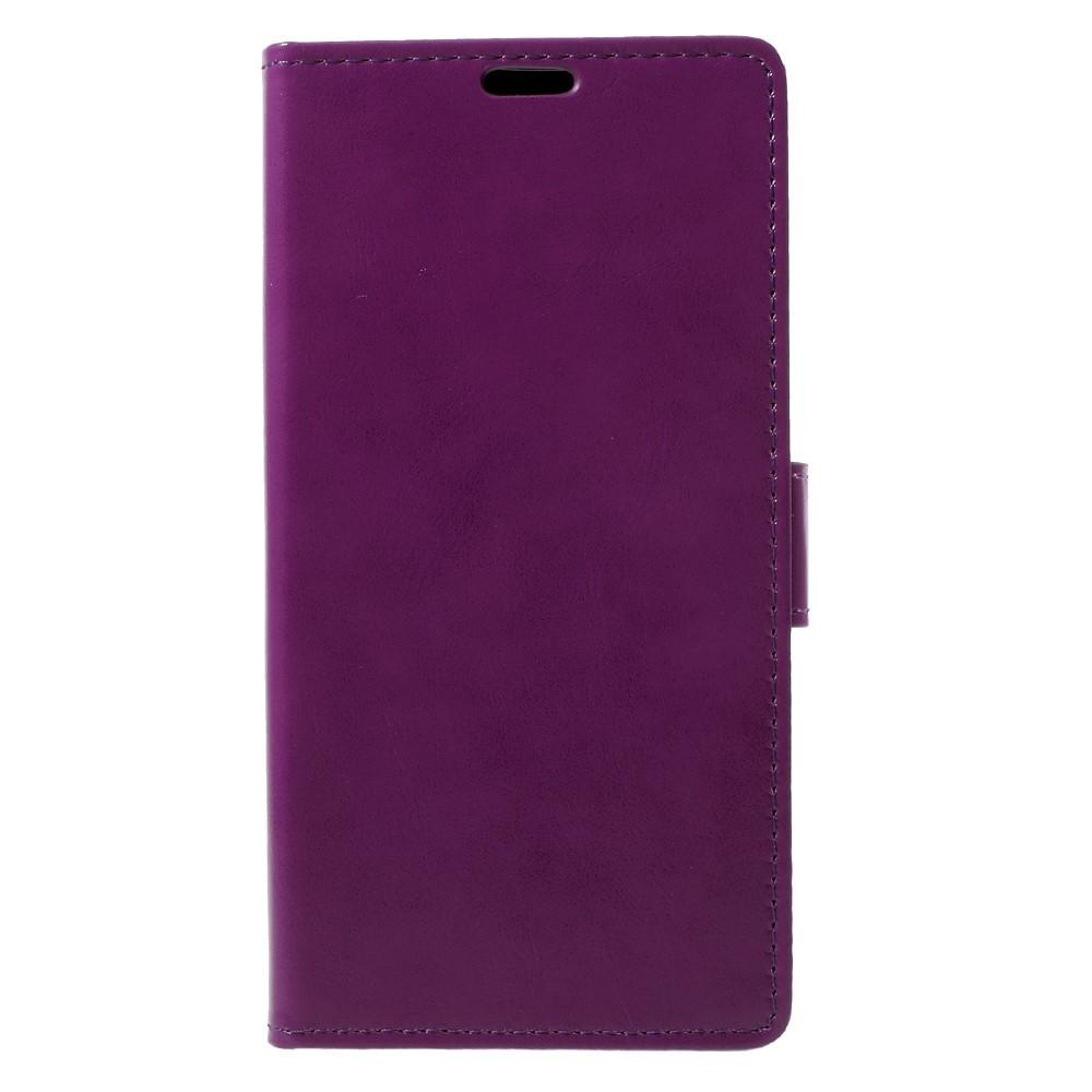 Чехол книжка для LG Q8 Н970 боковой с отсеком для визиток, Гладкая кожа, фиолетовый