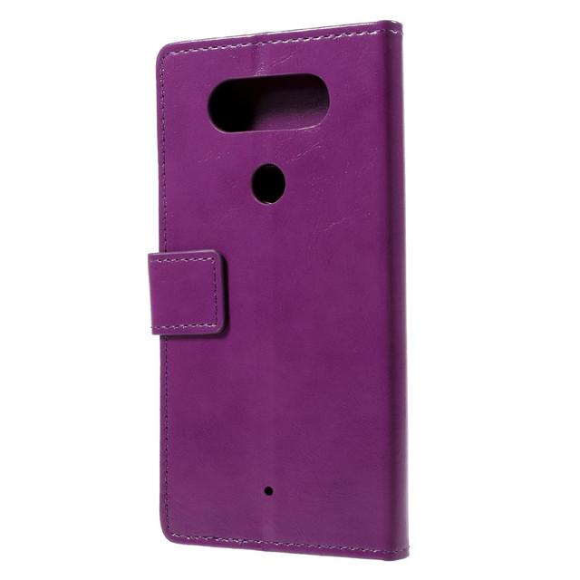 черный чехол книжка LG Q8 гладкая фиолетовая кожа