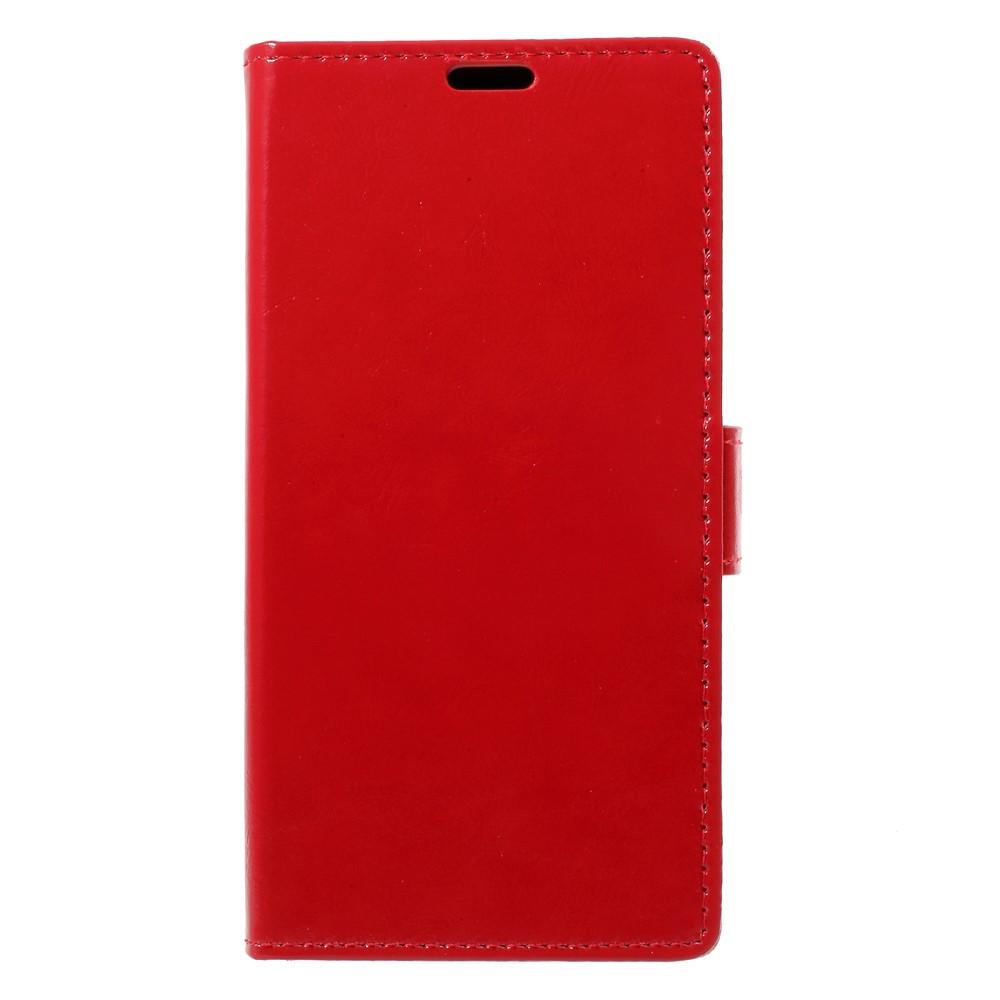 Чехол книжка для LG Q8 Н970 боковой с отсеком для визиток, Гладкая кожа, красный