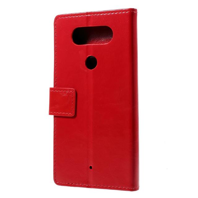 черный чехол книжка LG Q8 гладкая красная кожа