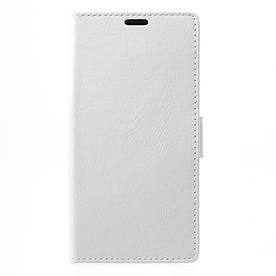 Чехол книжка для LG Q8 Н970 боковой с отсеком для визиток, Гладкая кожа, белый