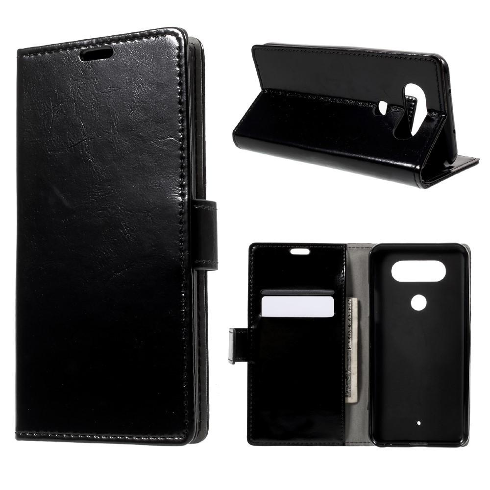 Чехол книжка для LG Q8 Н970 боковой с отсеком для визиток, Гладкая кожа, черный