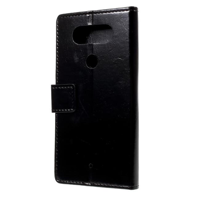 черный чехол книжка LG Q8 гладкая черная кожа