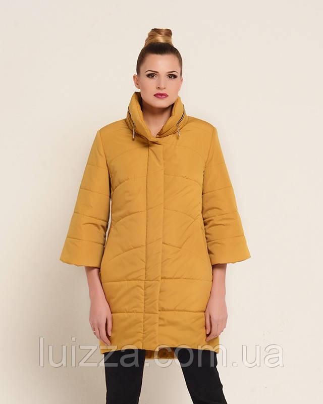 Женская осенняя куртка удлиненная горчица, 46-50рр