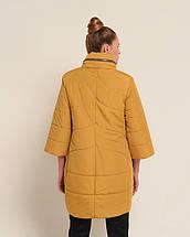 Женская осенняя куртка удлиненная горчица, 46-50рр, фото 3