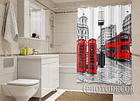 """Фото Шторка для ванной """"Лондонский автобус"""""""