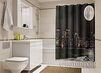 "Фото Шторка для ванной ""Луна над Манхэттеном"""