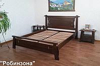 """Спальня """"Робинзона"""" (кровать + 2 тумбочки). Массив - ольха. Покрытие - """"лесной орех"""" (№ 44)."""